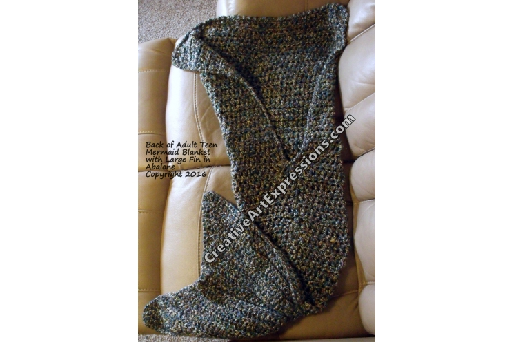 Back of Mermaid Blanket Adult Teen Large Fin in Abalone