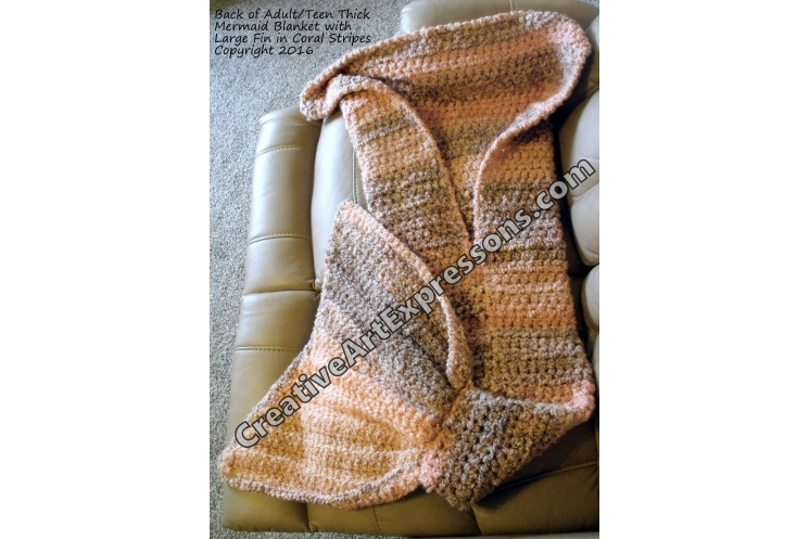 Back of Mermaid Blanket Thick Crocheted Adult/Teen in Coral Stripes