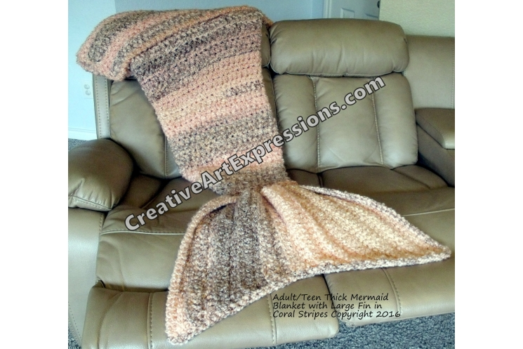 Mermaid Blanket Thick Crocheted Adult/Teen in Coral Stripes