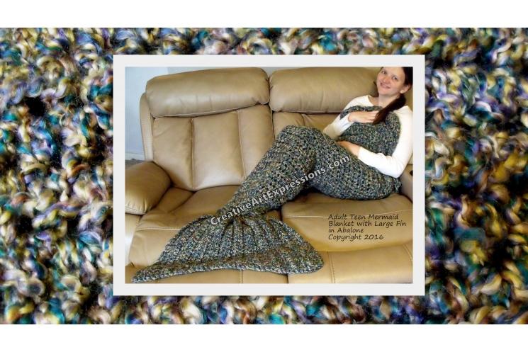 Mermaid Blanket Adult Teen Large Fin in Abalone