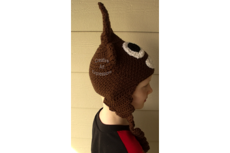 Child Poop Emoji Crocheted Hat with Ear flaps