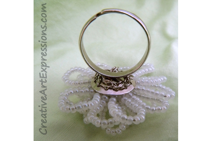 Creative Art Expressions Handmade White Seed Bead Flower Ring Jewelry Design