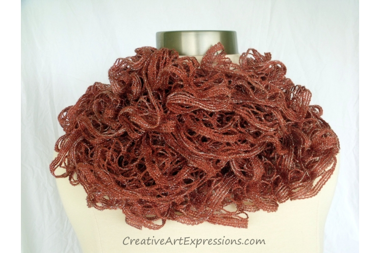 Creative Art Expressions Hand Knitted Cinnamon Ruffle Scarf