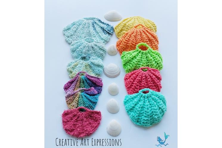 Seashell Scrubbies crocheted