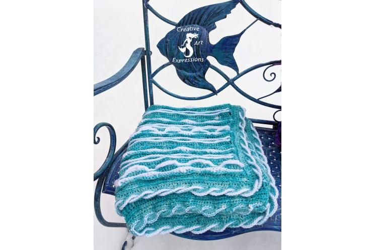 Sea Breeze Baby Blanket in Aqua with White Caps