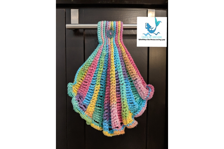 Seashell Hand Hanging Towel in Brights with Ruffle