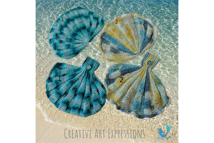 Seashell Towels in Aqua Ombre & Paris in June without and with Ruffles