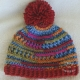 Bright Colored Hat Adult Teen Red Pom