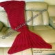 Mermaid Blanket with Large Fin in Candy Apple