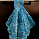 Seashell Hanging Towel in Teal with Ruffle