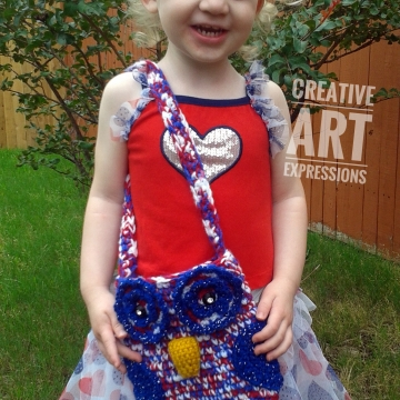 Red White Blue Owl Purse Crocheted