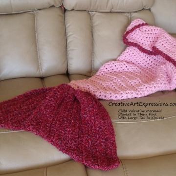 Hand Crocheted Child Valentine Mermaid Blanket