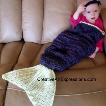 Hand Crocheted Purple & Green Baby Mermaid Blanket