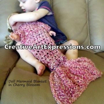 Crocheted Doll Mermaid Blanket in Cherry Blossom