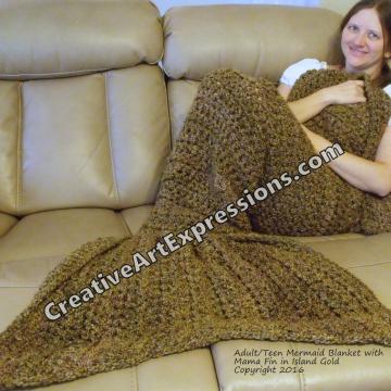 Mermaid Blanket Adult Teen Mama Fin in Island Gold
