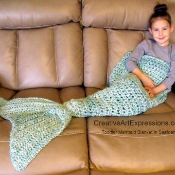 Crocheted Mermaid Blanket Toddler in Seafoam