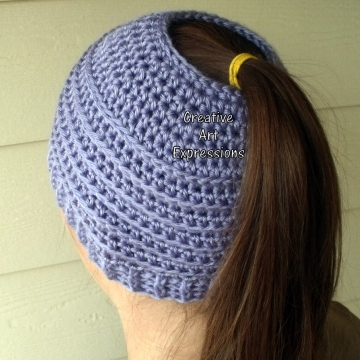 Lavender Purple Messy Bun Hat Beanie, Pony Tail Hat