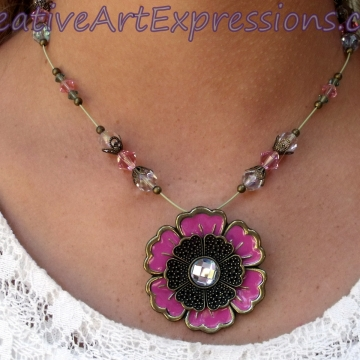 Creative Art Expressions Handmade Pink & Gold Crystal Flower Necklace Jewelry
