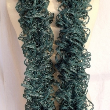 Creative Art Expressions Hand Knitted Persian Blue Ruffle Scarf