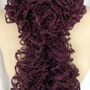 Creative Art Expressions Hand Knitted Regal Purple Ruffle Scarf
