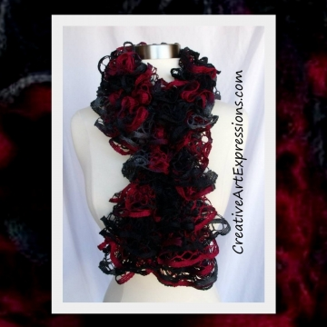 Hand Knitted Red Black & Gray Ruffle Scarf