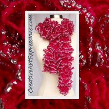 Knit Pink Topaz & Silver Ruffle Scarf