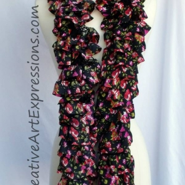 Knitted Moulin Rouge Fabric Lined Ruffle Scarf