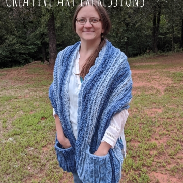 Sea Breeze Pocket Shawl in True Blue Adult Long