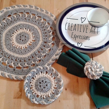 Round Elegant Place Mat Set Crochet Pattern, Coasters, Rose Napkin Rings, PDF Downloadable Pattern, Video Tutorials, Picture Tutorials, Crochet Pattern