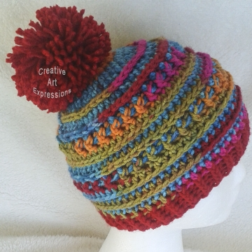 Ready to Ship, Bright Red, Blue, Green, Orange & Pink Crocheted Adult Teen Hat, Pom Hat, Winter Hat