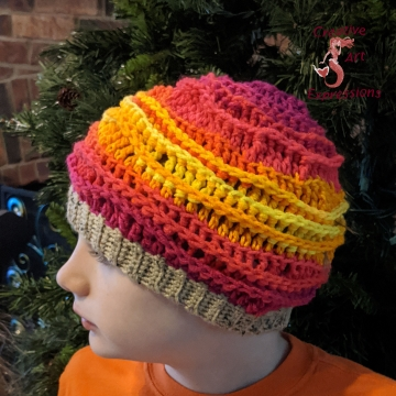 Crocheted Sunset Sea, Sea Breeze Hat, Youth Size 6-10 years, Sea Breeze Collection, Mermaid Fashion, Unique Gifts, Handmade winter hat, Handmade Winter Hat, Mermaid at Heart, Ocean Crochet, Coastal Crochet, Crochet with Meaning