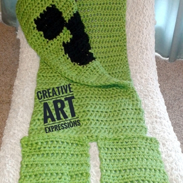 MOB Gamer Blanket, Child Blanket Thick, Crocheted MOB Blanket, Lime Green, Gamer Blanket, Ready To Ship