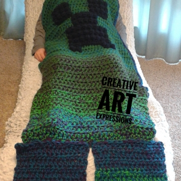 MOB Gamer Blanket, Adult Teen Blanket,Crocheted MOB Blanket, Green, Purple, Blue, Gamer Blanket