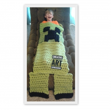 MOB Gamer Blanket, Preschool Toddler Blanket, Thick Crocheted MOB Blanket, Lime Green, Gamer Blanket, Ready To Ship, Soft