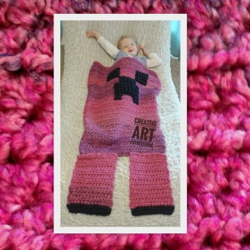 MOB Gamer Blanket, 18-24 Month Blanket,Crocheted MOB Blanket, Hot Pink & Purple, Gamer Blanket