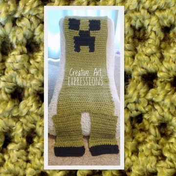 MOB Gamer Blanket, Adult Teen Blanket,Crocheted MOB Blanket, Light Green, Gamer Blanket
