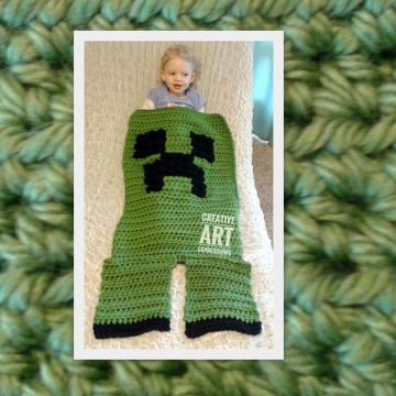MOB Gamer Blanket, 18-24 Month Blanket Thick, Crocheted MOB Blanket, Green, Gamer Blanket, Ready To Ship