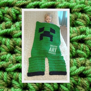 MOB Gamer Blanket, 12-24 Month Blanket, Crocheted MOB Blanket, Light & Dark Green, Gamer Blanket