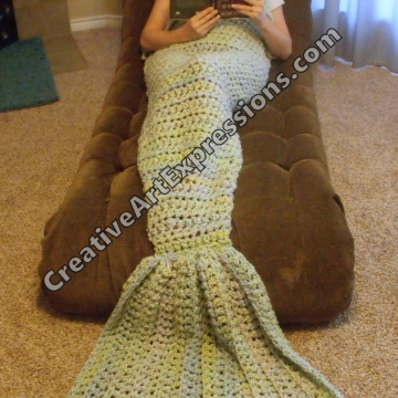 Mermaid Blanket Adult/Teen Crocheted in Light Blue Green Made To Order