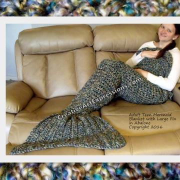Mermaid Blanket Adult Teen Teal, Green, Purple, Brown with Large Fin
