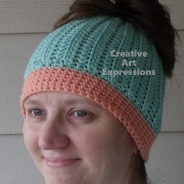 Messy Bun Hat Beanie, Pony Tail Hat, Crocheted Adult Hat Aqua & Coral Ready To Ship