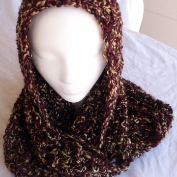Creative Art Expressions Hand Crocheted Barks Bulky Infinity Scarf