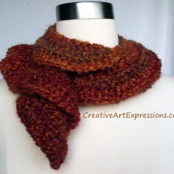 Creative Art Expressions Hand Crocheted Autumn Wavy Scarf