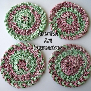 Red Green Pink Christmas Crocheted Coasters, Round, Large, Ready to Ship, Set of 4, Cotton Coasters, Home Decor, Kitchen Decor, 4 Coasters, Fine China Coasters, Fancy Coasters, Handmade