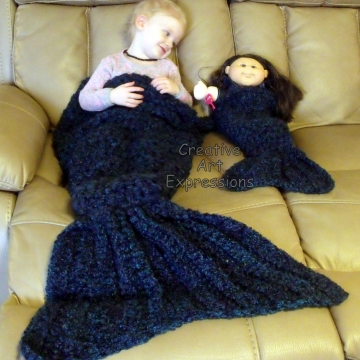 Toddler, Preschool, Mermaid Blanket, Crocheted,  Luxuriously Soft, Crocheted, Made To Order, Doll Mermaid Blanket