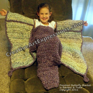 Preschool Butterfly Blanket Crocheted in Baroque & Tudor Ready To Ship