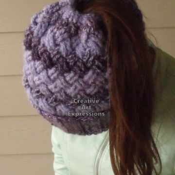Messy Bun Hat, Ponytail Hat, Cowl, Combo Hat Cowl, Purple, Ready to ship, Women, Teen Girls