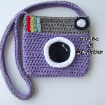 Camera Purse, Purple, Gray, Camera Bag, Camera Bag Purse, Stylish Camera Bag, Crochet, Fashion Camera Bag, Cute Camera Bag, Handmade, Fabric Lined, Vintage Camera Purse, Fashionable Camera Bags