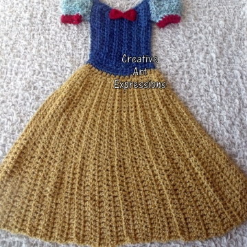 Ready to Ship, Fair Princess Dress Blanket Thick & Soft, Crocheted, Golden Yellow, Blue, Red, Toddler, Wearable Blanket, Girl Gifts, Unique Gifts,