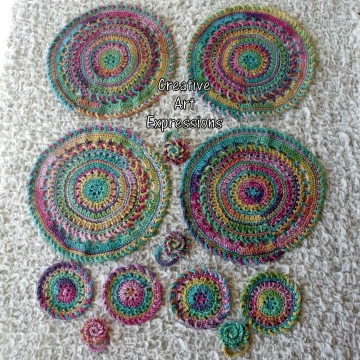 Bright Rainbow Crocheted Coasters, Place Mats & Napkin Rings, Round, Large, Ready to ship, Set of 4 each, Cotton Coasters, Home Decor, Kitchen Decor, Fancy Coasters, Handmade